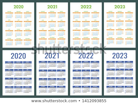 2020 2021 2022 2023 years set pocket calendar grid template organizer planner stock photo © orensila