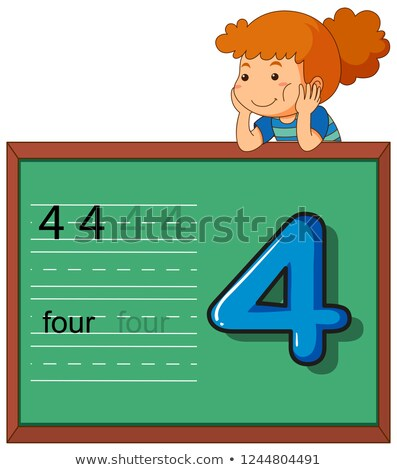 girl showing number four on chalkboard stock photo © colematt