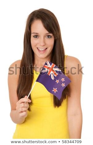 Boldog lány zászló Új-Zéland illusztráció lány boldog Stock fotó © colematt