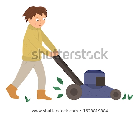 A Boy Cutting Grass with Lawn Mower Stock photo © colematt