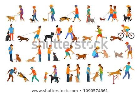 Senior Couple Pet Dog Illustration Stock photo © lenm