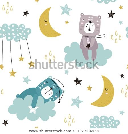 cute baby clouds stars moon pattern vector seamless stock photo © lemony