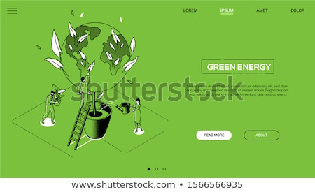 save the planet   line design style isometric web banner stock photo © decorwithme