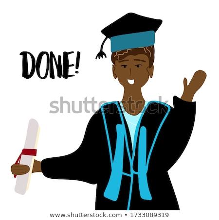 feliz · graduación · joven · blanco · estudiante · retrato - foto stock © vladacanon