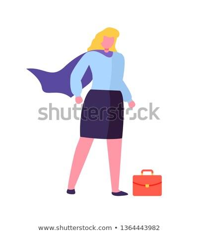 女性 スーパーヒーロー コート 赤 ブリーフケース 孤立した ストックフォト © robuart