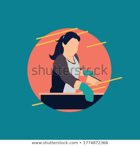 woman cooking soup on fire vector isolated cooker stock photo © robuart