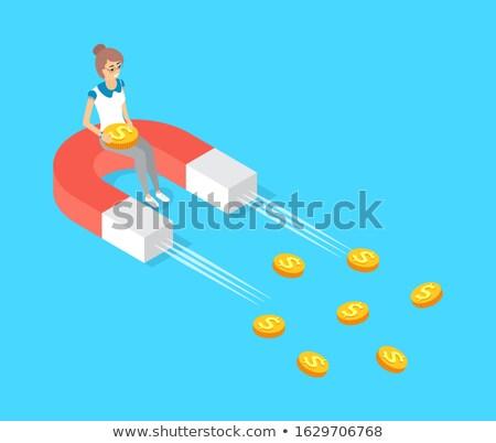 女性 座って 金貨 移動 磁石 ベクトル ストックフォト © robuart