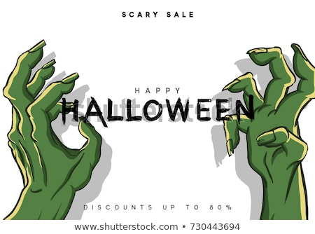 Happy Halloween Cemetery with Zombie Poster Vector Stock photo © robuart
