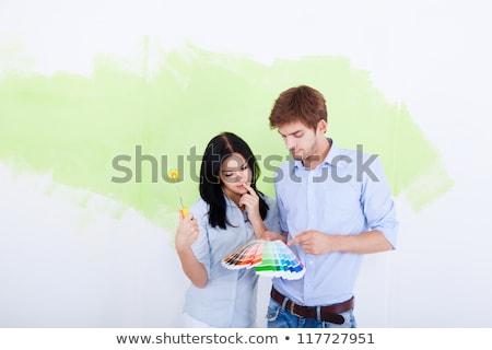 Fiatal designer választ színek új projekt Stock fotó © Elnur