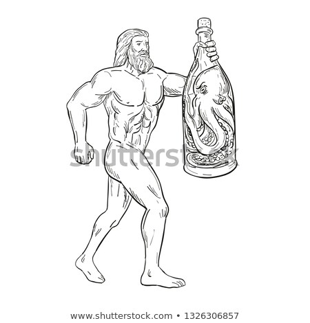 Hercules With Bottled Up Angry Octopus Drawing Black and White Stock photo © patrimonio
