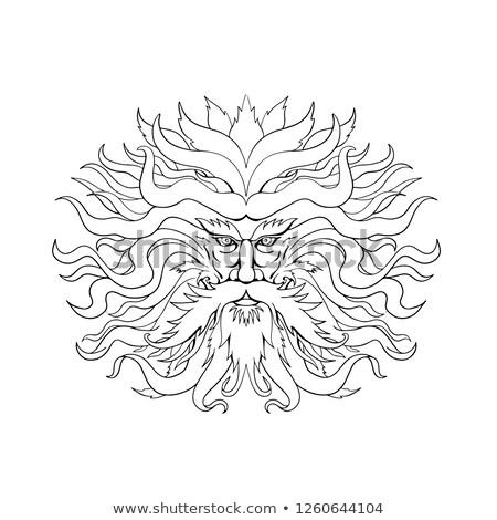 Yunan güneş Tanrı kafa çizim siyah beyaz Stok fotoğraf © patrimonio