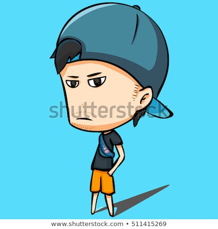 Big head on small body with icons and symbols Stock photo © ra2studio