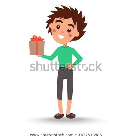 Jongen groene trui broek aanwezig vak Stockfoto © robuart