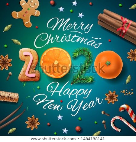 Merry Christmas, Happy New Year 2020, background With Typography and decoration for Christmas dinner Stock photo © ikopylov