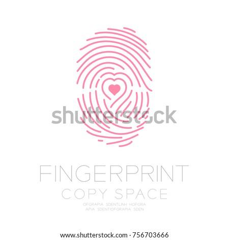 Fingerprint scan set with Love Heart symbol concept idea. Stock Vector illustration isolated on whit Stock photo © kyryloff