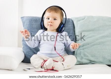 甘い 赤ちゃん 少年 リスニング 音楽 ヘッドホン ストックフォト © lichtmeister