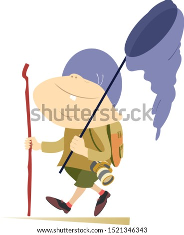 Hiking boy, rucksack, walking stick and butterfly net illustration Stock photo © tiKkraf69