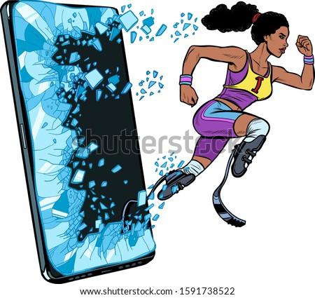 Nő futó mozgássérült láb protézis telefon Stock fotó © studiostoks
