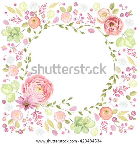 Pink roses floral card Vector watercolor. Provence rustic poster. Birthday invitation, ceremony even Stock photo © frimufilms