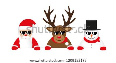 Karácsony rénszarvas mikulás kalap napszemüveg rajz Stock fotó © Krisdog