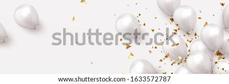 realista · branco · ouro · cinza · balão · sombra - foto stock © olehsvetiukha