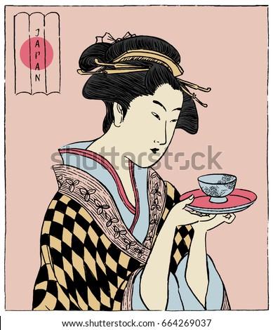 Image of beautiful geisha woman in japanese kimono holding flowe Stock photo © deandrobot