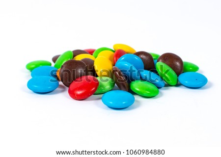 Milk chocolate candies isolated on white background, sweet food and dessert Stock photo © Anneleven