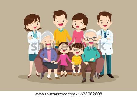 Portrait of the big happy family. Parents with children in count Stock photo © dashapetrenko