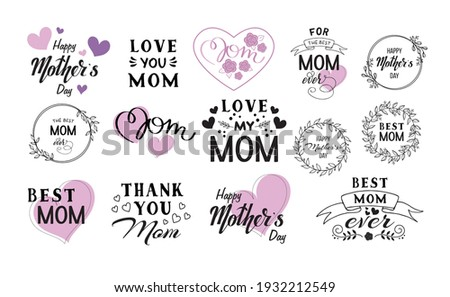 I Love You Mom. Happy Mother's Day Greeting Card Design with Falling Colorful Flower and Typography  Stock photo © articular