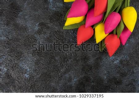 Feito à mão tulipas concreto mães dia primavera Foto stock © olira
