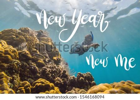 Новый год новых мне счастливым человека Подводное плавание Сток-фото © galitskaya
