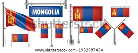 Vector ingesteld vlag Mongolië creatieve Stockfoto © butenkow