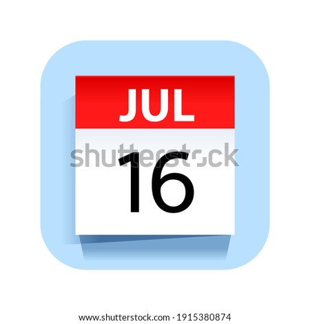 Simple black calendar icon with 16 july date isolated on white Stock photo © evgeny89