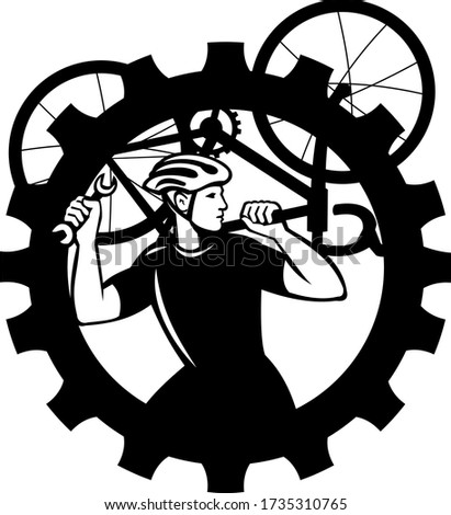 Cyclist Bicycle Mechanic Carrying Bike Sprocket Black and White Stock photo © patrimonio