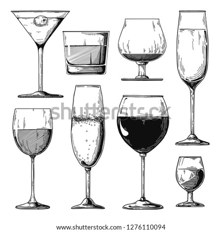 Sketch different glasses. Wine, champagne, cognac and other drinks. Stock photo © Arkadivna