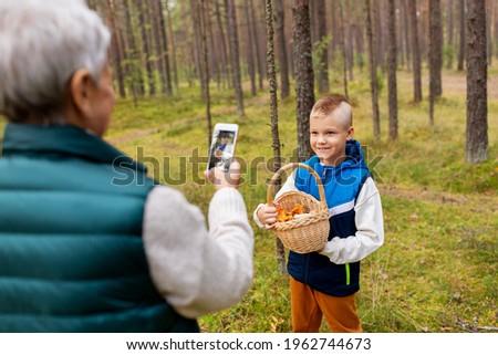 woman photographing mushrooms by smartphone Stock photo © dolgachov