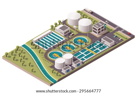 Water Treatment Industrial Building isometric icon vector illustration Stock photo © pikepicture