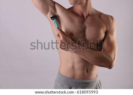 Genç göğüs gövde jel ustura ev Stok fotoğraf © photocreo