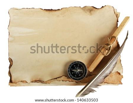 антикварная · книга · компас · чистый · лист · бумаги · выделите · белый - Сток-фото © inxti