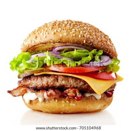 hamburger · ketchup · vork · paars · witte - stockfoto © glorcza