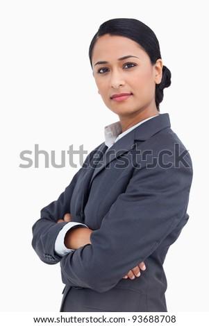 Grave mujer de negocios doblado armas blanco manos Foto stock © wavebreak_media
