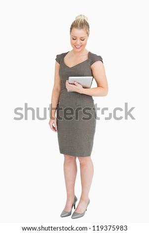 mulher · em · pé · ebook · mão · branco - foto stock © wavebreak_media