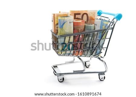 Bevásárlókocsi pénz fehér háttér bolt piac Stock fotó © vlad_star