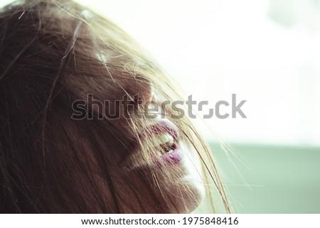 Güzel kız ağız solunum soyut beyaz ışıklar Stok fotoğraf © ra2studio
