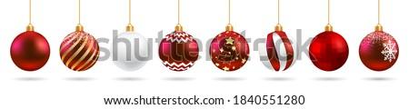 natal · conjunto · enforcamento · decoração · vermelho - foto stock © derocz