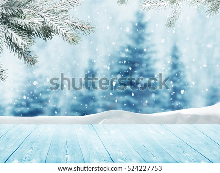 Wooden Background With Snowdrifts Stock photo © cammep