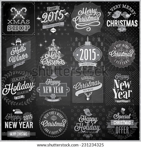 Christmas  labels, emblems on black board stock photo © netkov1