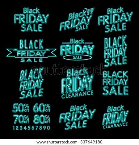 Black friday dizájnok neon retró stílus elemek klasszikus Stock fotó © rommeo79