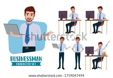 Businessman making gesutres Stock photo © ra2studio