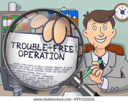 Trouble-Free Operation through Magnifying Glass. Doodle Design. Stock photo © tashatuvango